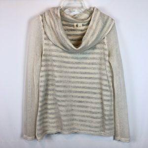Moth Anthro Sweater S Stripe Cowl Neck Alpaca Wool